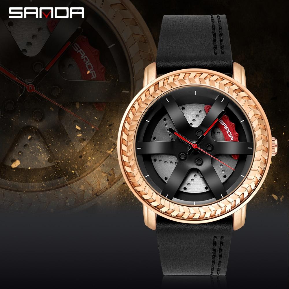 Купить бренд sanda роскошные мужские часы с автомобильным колесом 3d