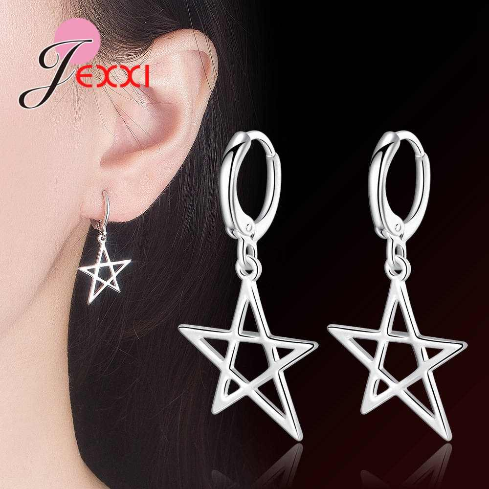 Геометрическая пятиконечная звезда 925 Висячие серьги из серебра 925 пробы для женщин Изысканный корейский тренд пирсинг серьги кольца ювелирные изделия