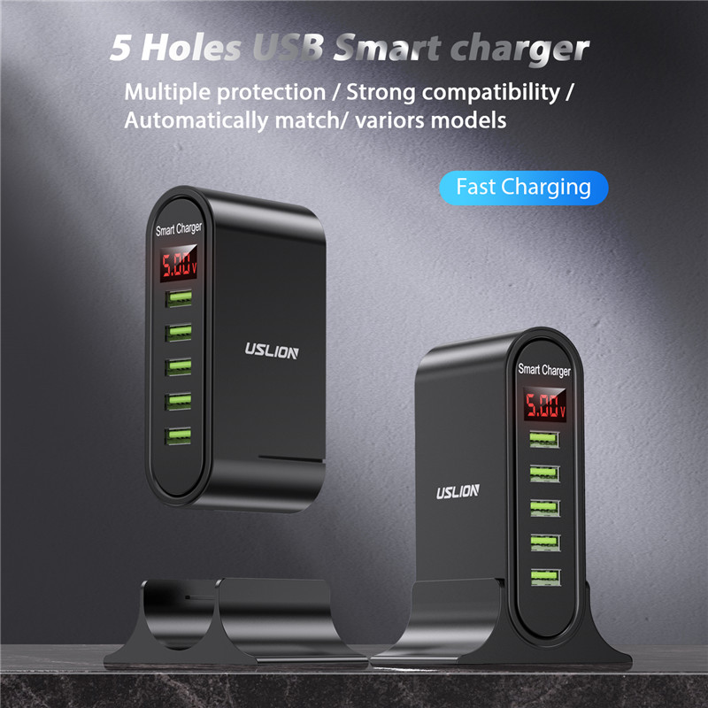 USLION 5 Port USB Charger with LED Display for Universal Phone 2