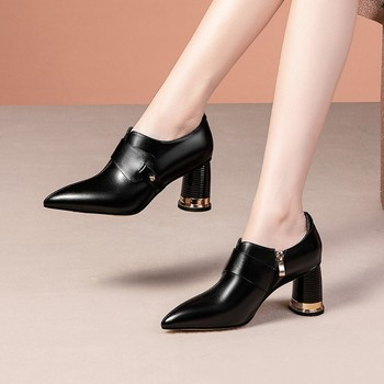 MLJUESE 2020 women pumps autumn spring soft cow leather black color pointed toe zippers high heels lady shoes party size 42