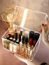 INS Girl's Heart Grid with Cover Lipstick Storage Box Multi-Grid Dustproof Small Display Stand for Cosmetics