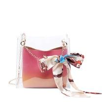 Women Clear Bag Ribbons Bucket Fashion Transparent Shoulder Bags Ladies Messenger Casual Shopping Scarves Handbags