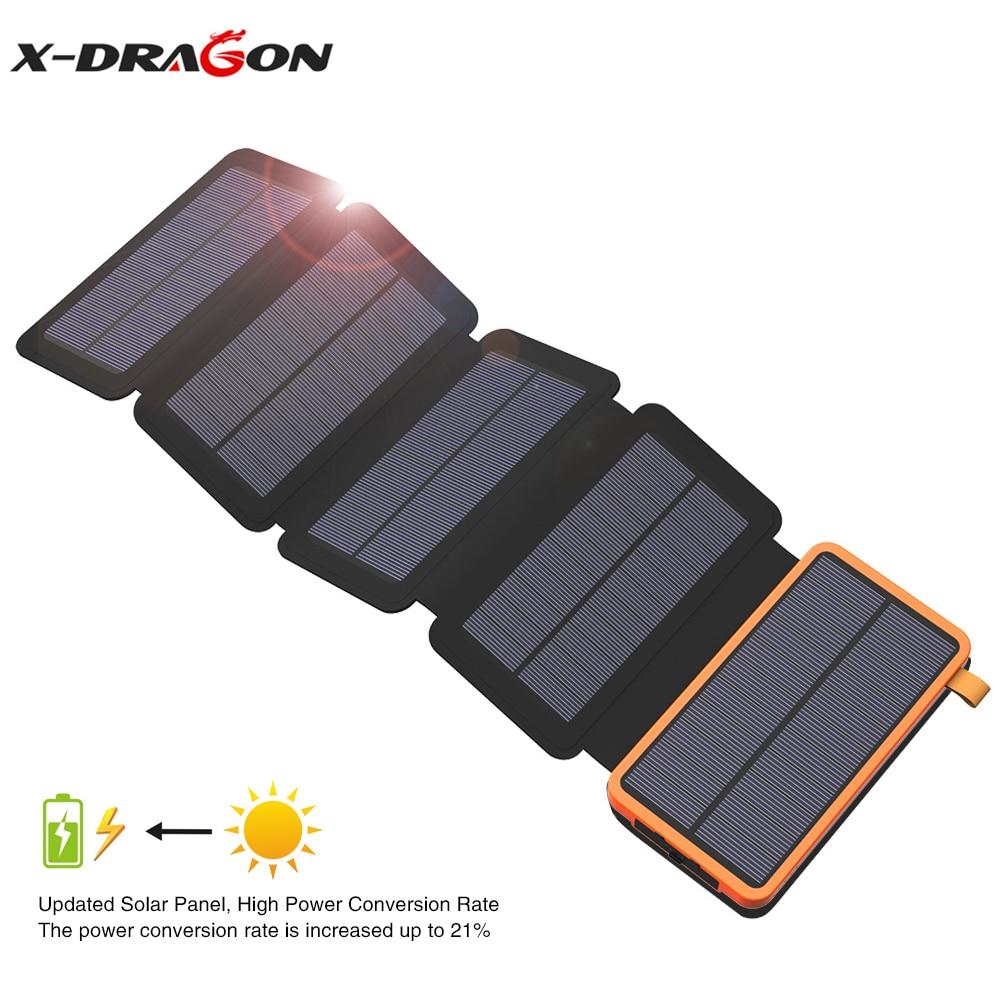 X-DRAGON Charger Solar-20000mah-Power-Bank iPhone Outdoors Samsung for 11 iPad Samsung/Outdoors/Powerbank
