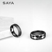 Anillo para hombre, anillo de banda de cúpula de cerámica negra anillo para la fiesta boda compromiso 7mm de ancho, Envío Gratis, personalizado