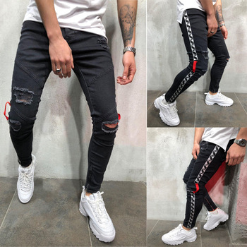 Mens Stretch Ripped Holes Jeans Skinny Biker Pencil Jean Destroyed Pleated Side Stripe Slim Fit Fashion Black Denim Pants Male mcckle mens ripped skinny jean trousers streetwear pleated black distressed biker jeans pants male fashion denim joggers