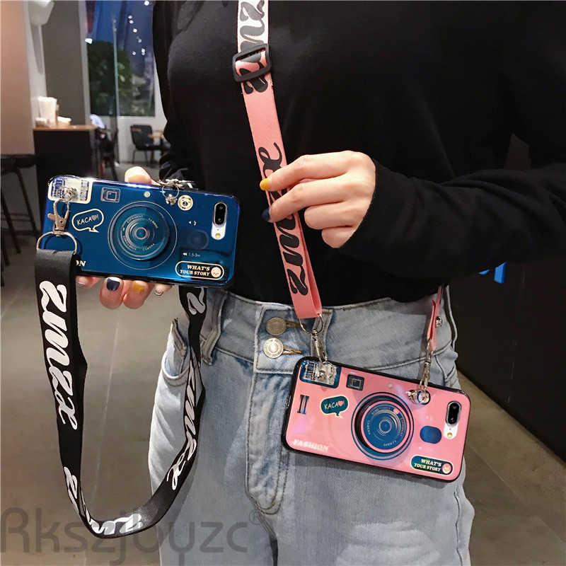 جراب هاتف ناعم لكاميرا OPPO Realme X X2 XT 1 C1 U1 2 3 5 Pro مع حبل وحامل للشباب ممن لهم F7 K3 K5 5Q