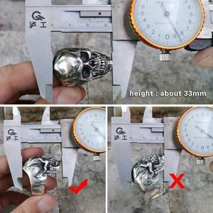"Image 4 - LINSION 925 סטרלינג כסף גבוהה פירוט גולגולת טבעת Mens Biker פאנק טבעת TA50 בארה""ב גודל 7 ~ 15"