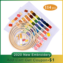 2020 New 60 Colors Cross Stitch Thread Bamboo Hoops Embroide