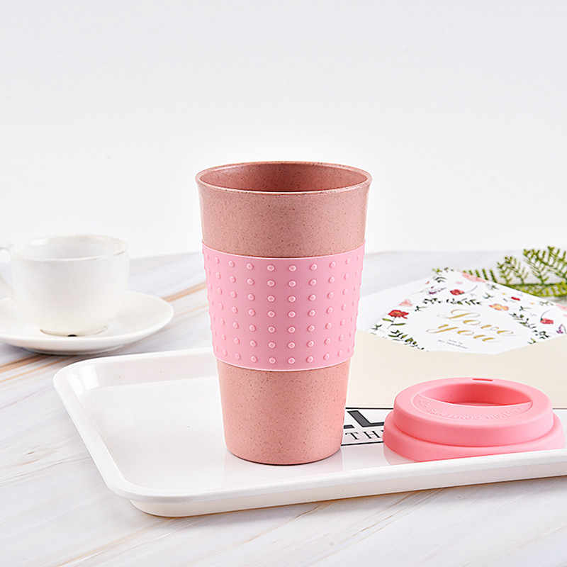 Nieuwe Plastic Tarwe Stro Reizen Koffiemokken Water Thee Cup Met Reizen Deksel Gemakkelijk Te Gaan Portable Voor Outdoor Camping wandelen Picknick