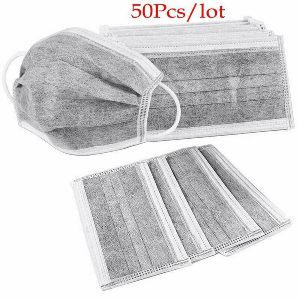 10/20/25/50pcs Gray Color 4 Layers Mask Ear Mount Mask Activated Carbon Breathable Mouth Mask