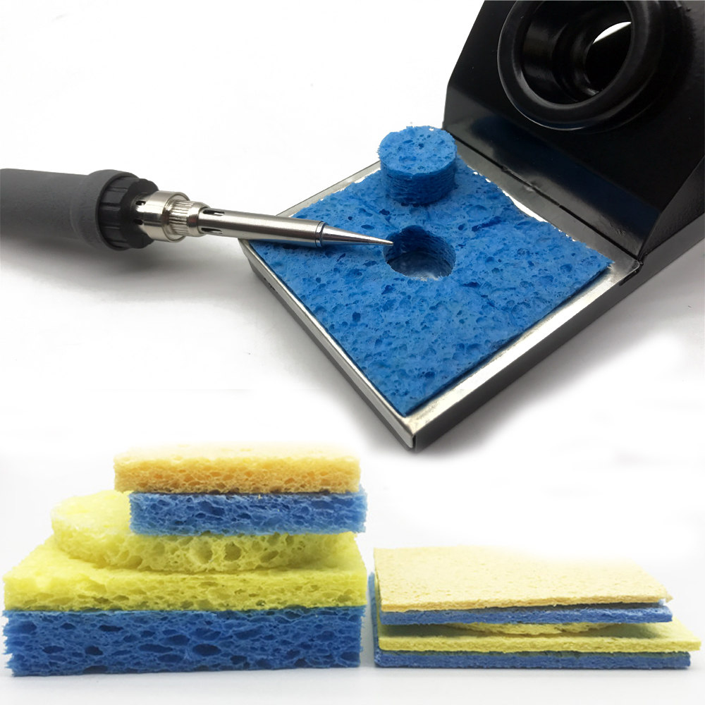 5/10Pcs Yellow/Blue  High Temperature Resistance Cleaning Sponge Cleaner For Enduring Electric Welding Soldering Iron