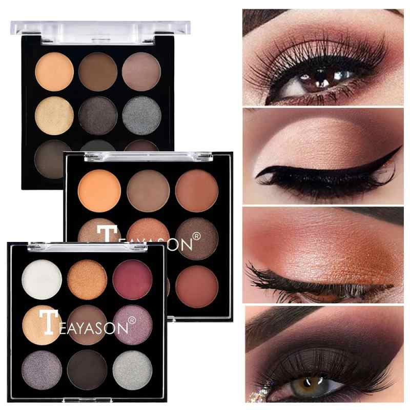 9 color concealer repairing eyeshadow plate earthy pearly matte diamond glitter eye shadow shimmer pigment palette TSLM1