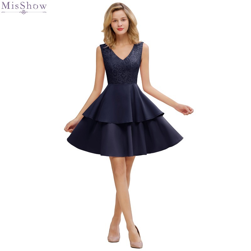 2019 New Robe Cocktail Dresses 2019 Sexy V Neck Sleeveless Cocktail Party Dress Elegant Short Formal Dress