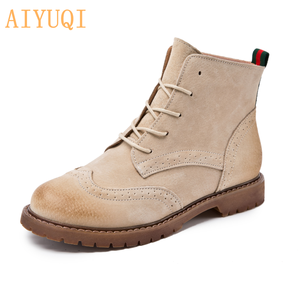 Image 3 - women shoes 2020 spring genuine leather Female short boots  suede women booties  British lace retro trend women naked boots
