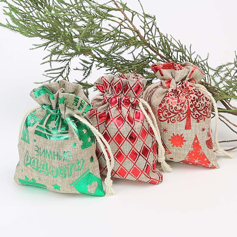 9 * 12Cm Hot Stamping Imitation Hemp Bundle Pocket New Christmas Decoration Merchandise Gift Bag 20 Pieces