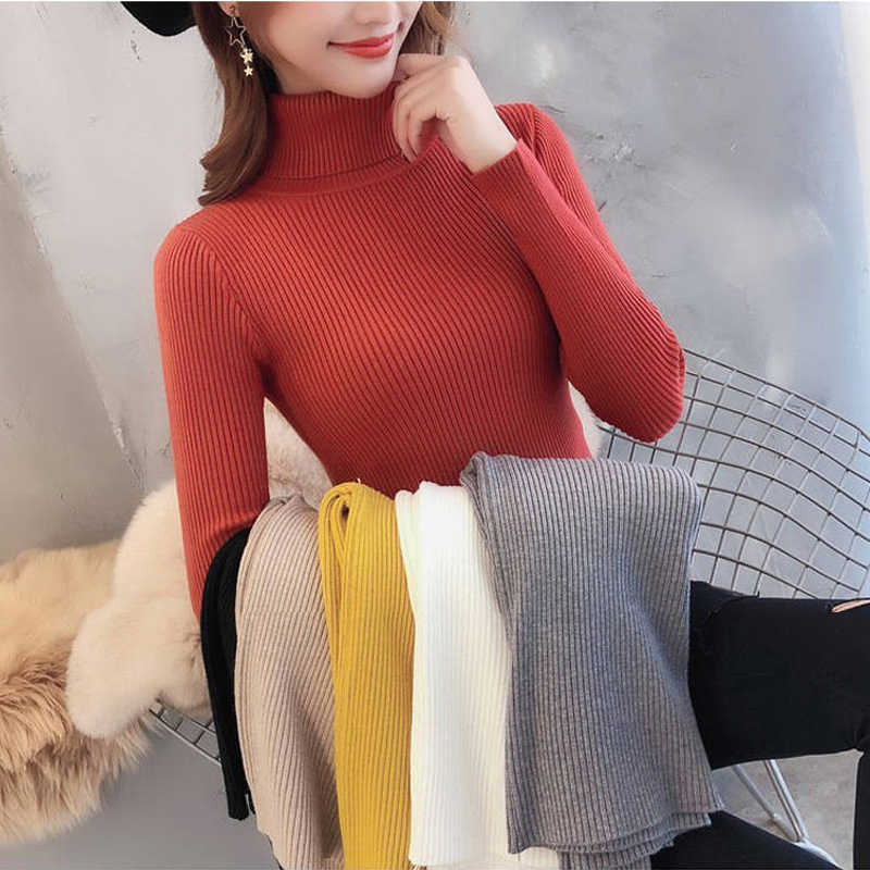 Lucyever Fashion Koreaanse Coltrui Vrouwen Trui Herfst Winter Trui Slanke Dames Basic Knit Top Casual Solid Jumper Sueter
