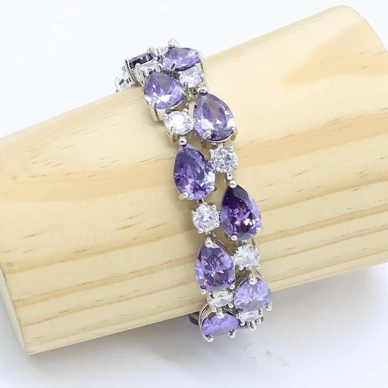 เพทายสีม่วง 925 เงินชุดเครื่องประดับสำหรับผู้หญิง Party Weeding สร้อยข้อมือต่างหูสร้อยคอแหวนจี้ของขวัญกล่อง