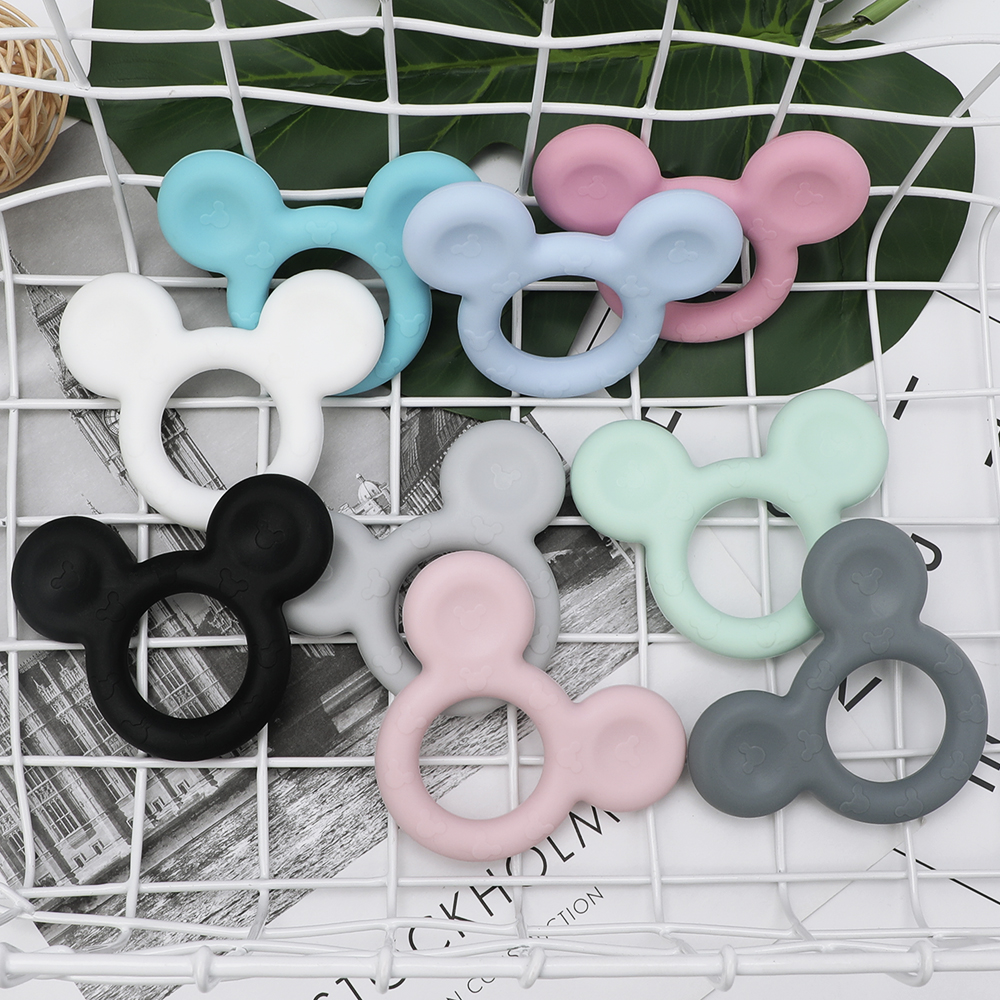 TYRY.HU Food Grade Baby Teethers 1Pc Mickey Mouse Shaped Silicone Beads BPA Free Baby Chewable Teething Beads Nursing Necklace