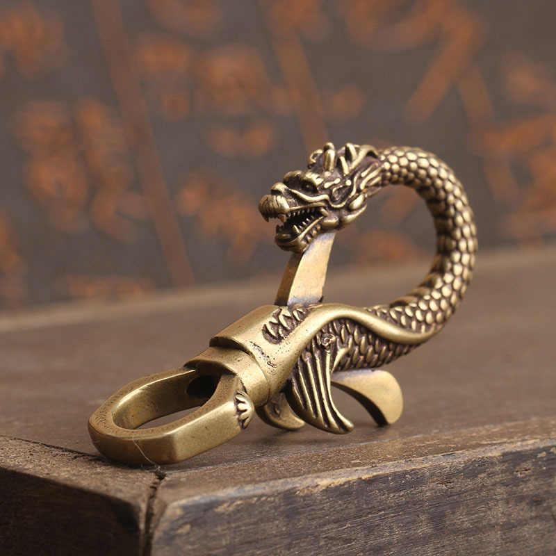 Chaveiros de bronze Antigo Dragão Artesanato Chaveiro Bugiganga Chaveiros Fecho Da Lagosta de Cobre Multifuncional Abridor de Garrafa Titular da Chave Do Carro