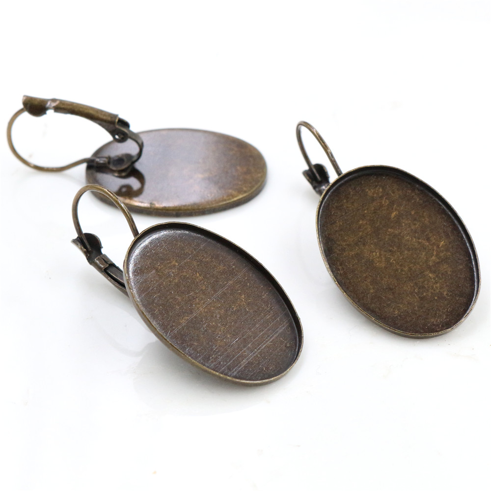 18x25mm 10pcs Bronze Plated French Lever Back Earrings Blank/Base,Fit 18x25mm Oval Glass Cabochons;Earring Bezels (L5-33)