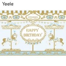 Yeele carrossel unicórnio dourado padrões de aniversário do bebê fotografia fundos personalizados backdrops fotográficos para estúdio foto