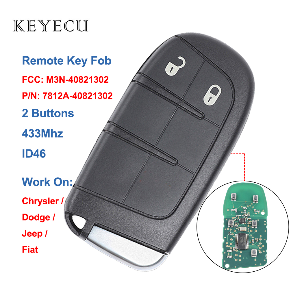 Keyecu 2 Buttons Smart <font><b>Remote</b></font> Car <font><b>Key</b></font> Fob 433Mhz with ID46 Chip for Chrysler 300,for Jeep,for Dodge,for <font><b>Fiat</b></font>, M3N-40821302 image