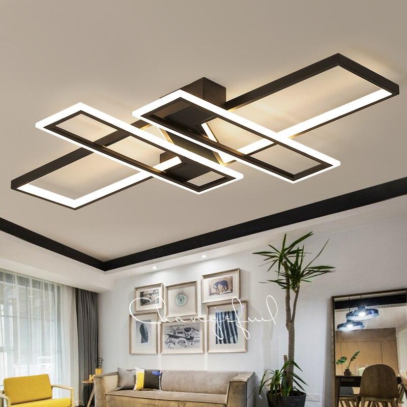 Nova lâmpada do teto led para a sala de estar loft quarto jantar casa moderna preto lustres retângulo suspenso luminárias