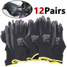 12 Pairs of safety coated work gloves, PU gloves and palm coated mechanical work gloves, obtained CE EN388