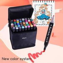 Rotuladores artísticos de 24/30/36/40/48/60 colores, marcadores de dibujo artísticos de doble punta, bolígrafos con alcohol para marcadores para Manga, suministros de arte