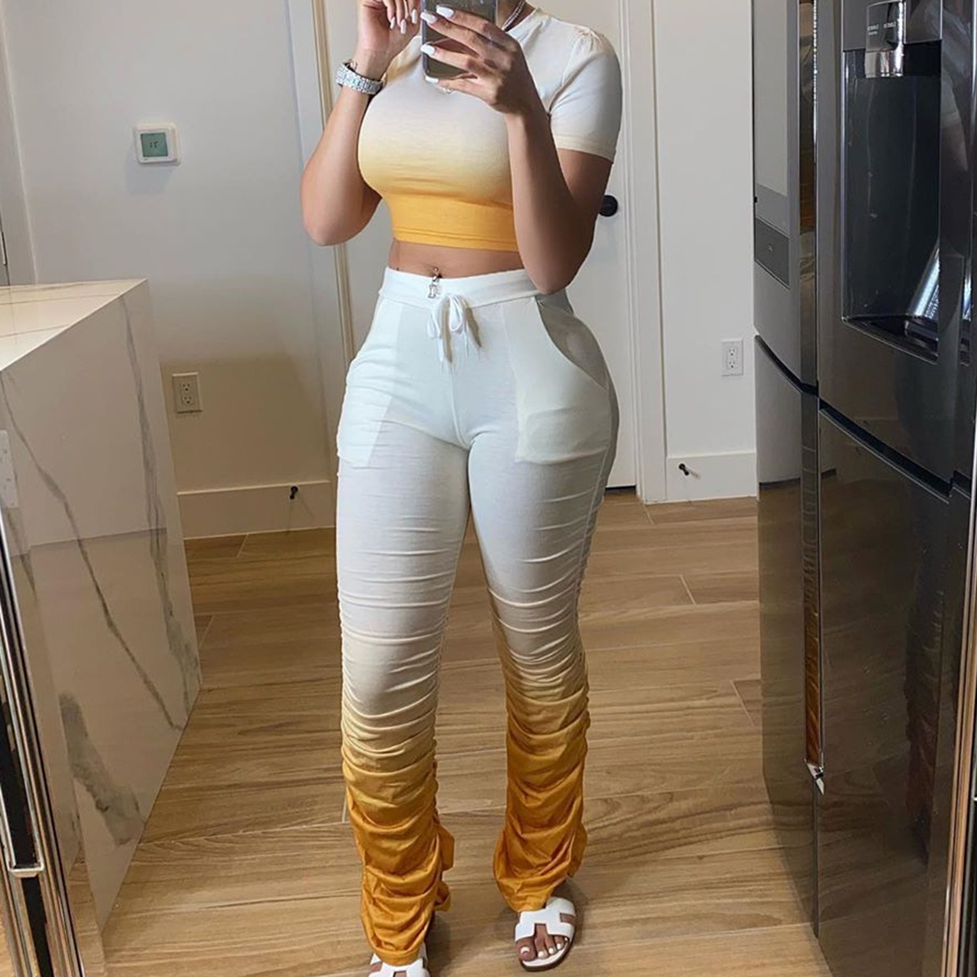 Jodimitty Women Tracksuits Two Pieces Set Gradient Short Sleeve Top Flared Pants 2 Pieces Set Pleated Pants Sports Suit Outfit 6