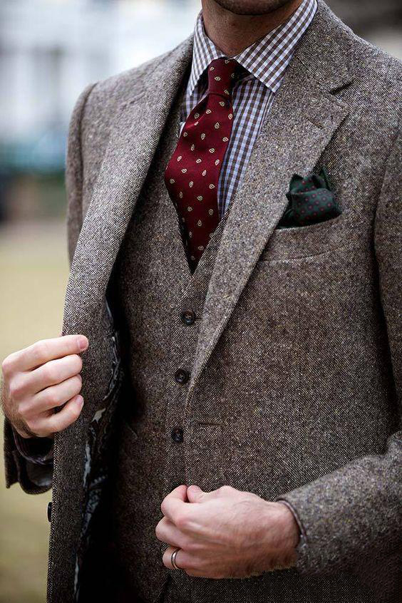 Mens Donegal Tweed Custom Made Mens Three Pieces Tweed Suit Tailored Single Breasted Men Suit Notch Lapel(Jacket+Pant+Vest)
