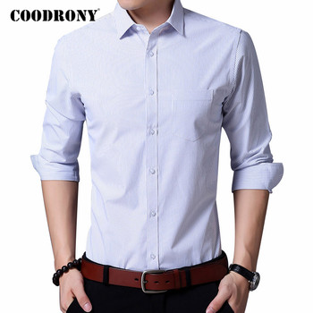 COODRONY Brand Long Sleeve Shirt Men Clothing Spring Autumn Business Casual Shirts Classic Striped Chemise Homme Pocket C6083 striped long shirt with chest pocket