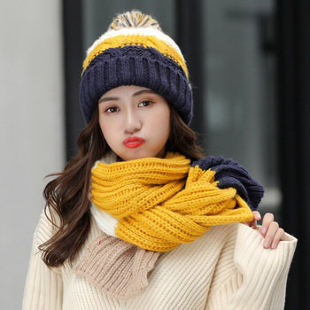 Hat Scarf Suit Women Autumn and Winter Beanies Fashion Pompom Wool Hat Thick Warm Knitted Hat Scarf Winter Riding Winter Caps 2016 hot winter hat fashion brands baby girls big ball wool cute hat beanies thick warm knitted hat for 4 10yrs children