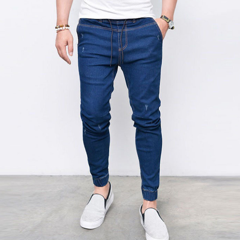 Gersri Men Jeans Lace Up Stretch Jeans Season Jeans Flocking Soft Men Jeans New Arrival Pants For Male