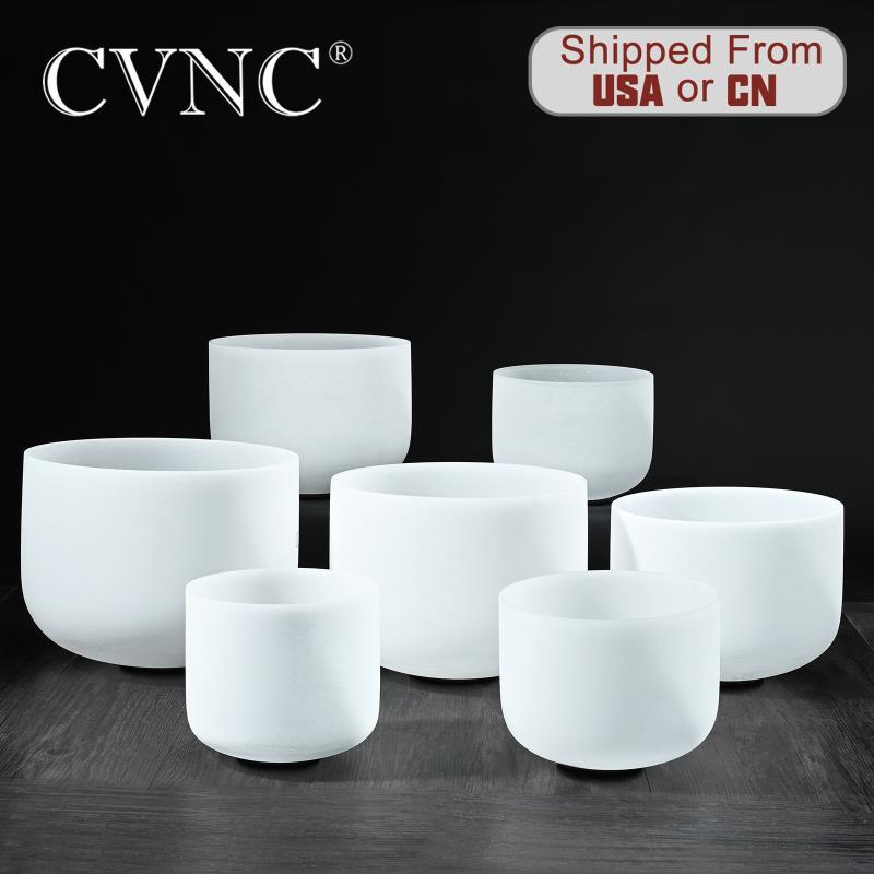 """CVNC paso perfecto 6 """"-12"""" Chakras Note CDEFGAB juego de 7 Uds. De cristal de cuarzo esmerilado"""
