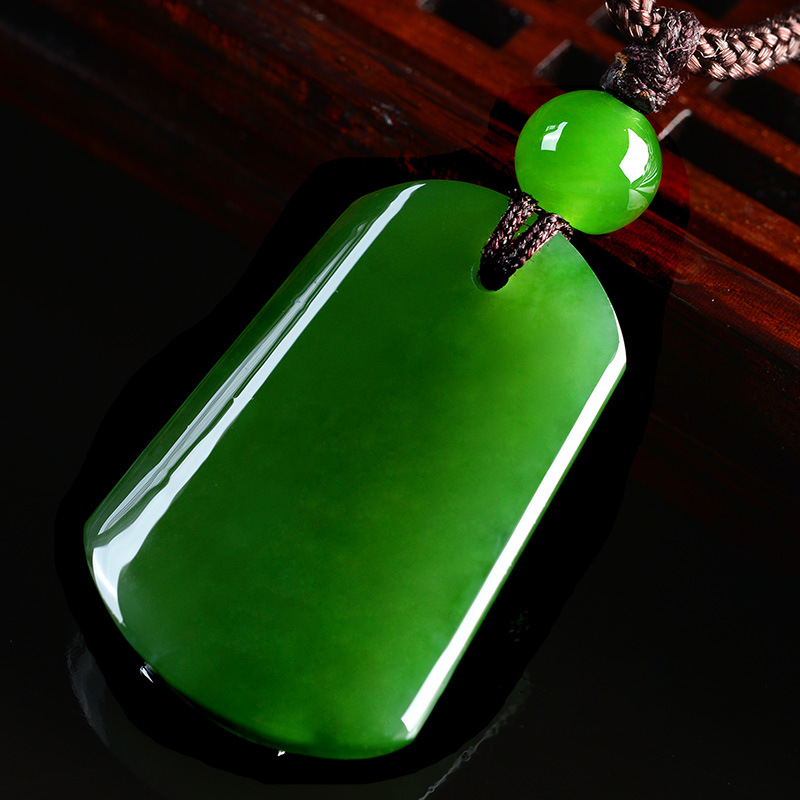 Natural green jade pendant necklace square jade pendants necklaces for men women jadeite jade jewelry necklace women send chain