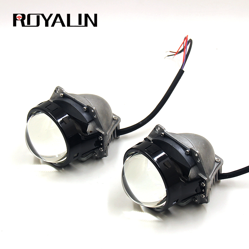 ROYALIN 3.0 Inch Car Bi Led Projector Headlights Lens 6000K 34W 38W 3200lm For Universal Auto Headlamps Retrofit Accessories