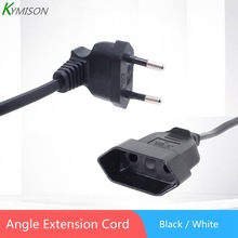Europea 90 Degree Male Plug To Female Socket Power Extension Cable For PC Computer PDU 0.3m/0.6m/1.8m EU 2Prong Bend Angled Cord