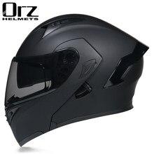 Modular filp up capacete da motocicleta rosto cheio de corrida scooter casco moto viseiras duplas ponto aprovado