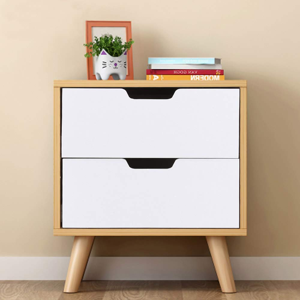 Edside Table With 2 Drawers Wooden Wardrobe Storage Unit For Chic White Bedside Table Storage Cabinet Minimalist Modern Elegant