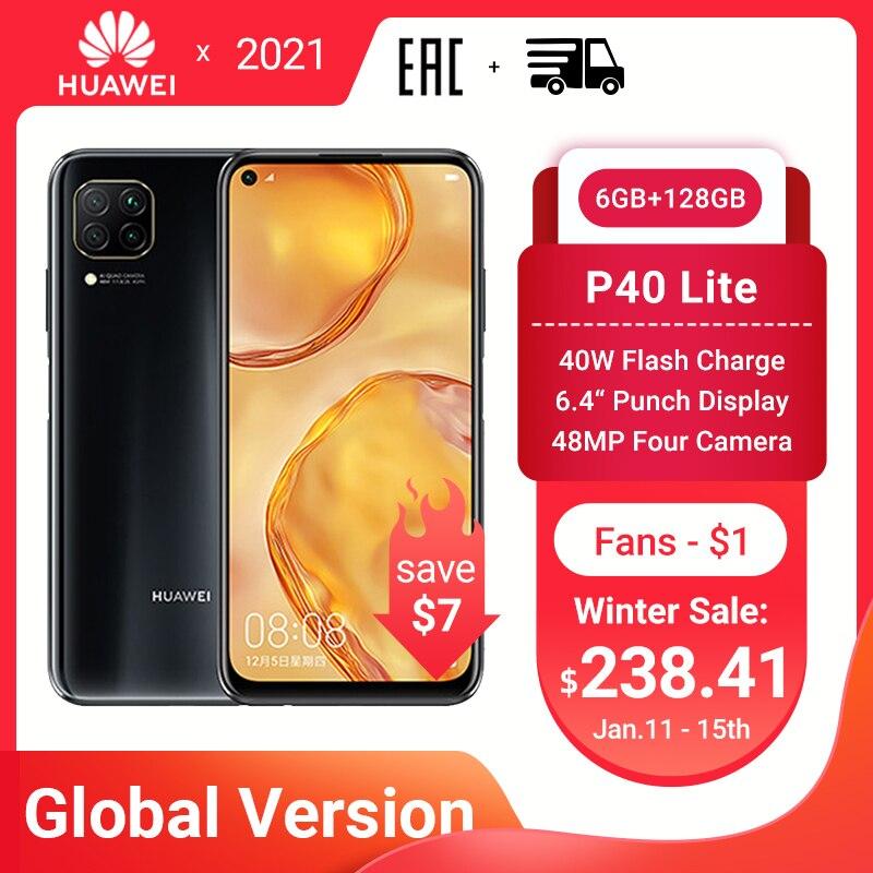 """HUAWEI P40 Lite Smartphone Globale Version 6GB 128GB 48MP AI Quard Kamera 6.4 """"FHD Bildschirm Kirin 810 octa Core 40W Schnelle Lade"""
