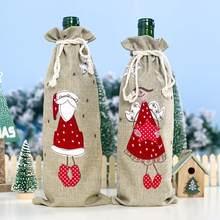 Natal garrafa de vinho saco papai noel garrafa capa de cozinha decoração para garrafa de ano novo natal jantar festa mesa posta fdh