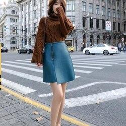 Top Quality Autumn Winter Sheepskin Womens A-Line Skirts High Street Fashion Zipper Fly Split Female Genuine Leather Wrap Skirts