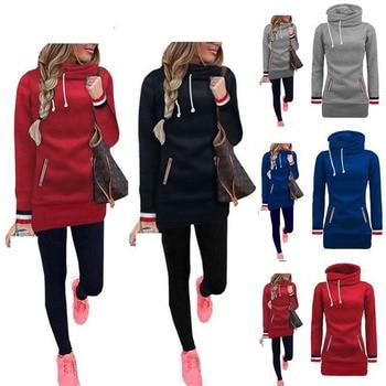 цена на 2020 New Long Hoodies Women Autumn Winter Clothes Kangaroo Pocket Hoodie Sweatshirt Plain Harajuku Fashion Pullover Cute Hoodie