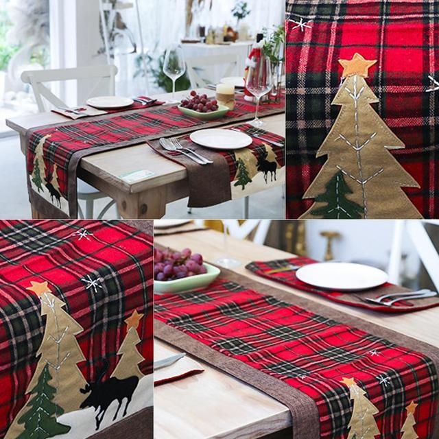 Burlap & Cotton Christmas Table Runner Red Black Plaid Tablecloth Home Party Dining Table Coffee Table Decoration Tablecloth 5