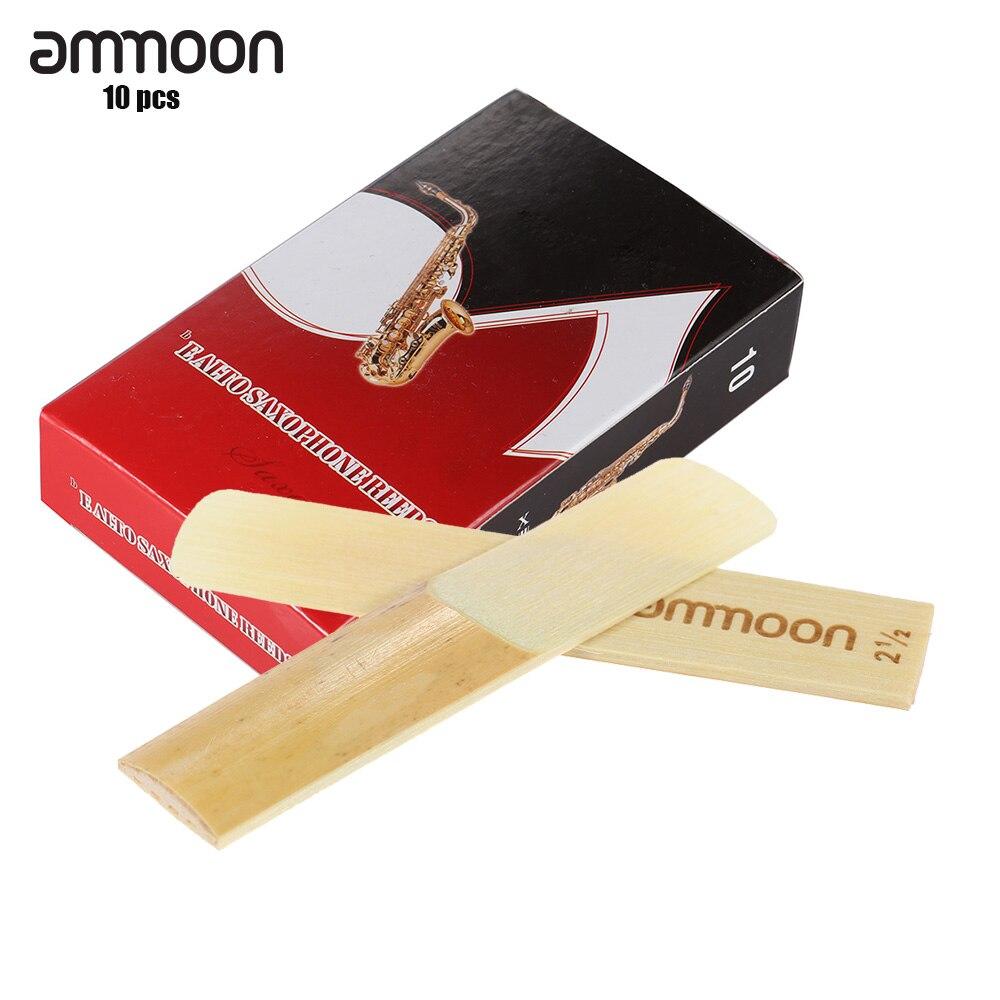 Ammoon 10-pacote peças saxofone juncos de bambu juncos para eb saxofone alto sax acessórios força 2.5/3.0