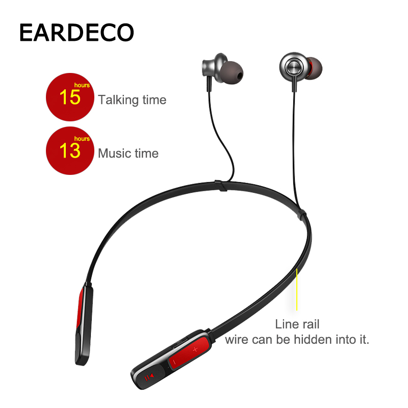 EARDECO Original Magnetic Wireless Headphones Sport Bluetooth Earphone Headphone Waterproof Earphones Stereo Headset Mic Bass