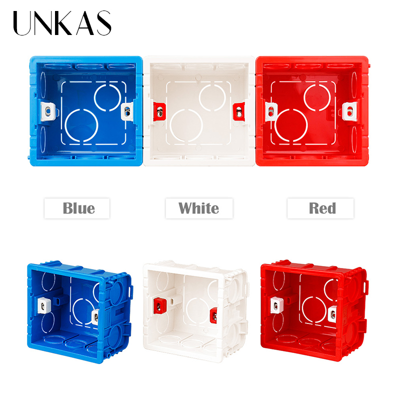 UNKAS High Adjustable Transparent Strength Mounting Internal Cassette For 86 Type Switch And Socket Black Wiring Back Box