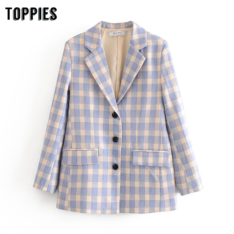 Spring Blue Lattice Blazer Ladies Formal Suit Jacket Single Brested Coat Notched Collar Women Office Clothes