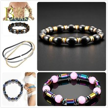 Magnetic Bracelet Bangle Men Health Slimming Magnet Stone Bracelets Bangles Women Chain Bracelets Beaded Strand Bracelet B5(China)